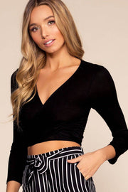Black Wrap Top Crop Top