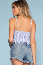 Blue and White Stripe Lace-Up Crop Top