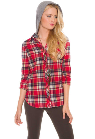 Ellie Honey Plaid Tie-Front Button-Up Top