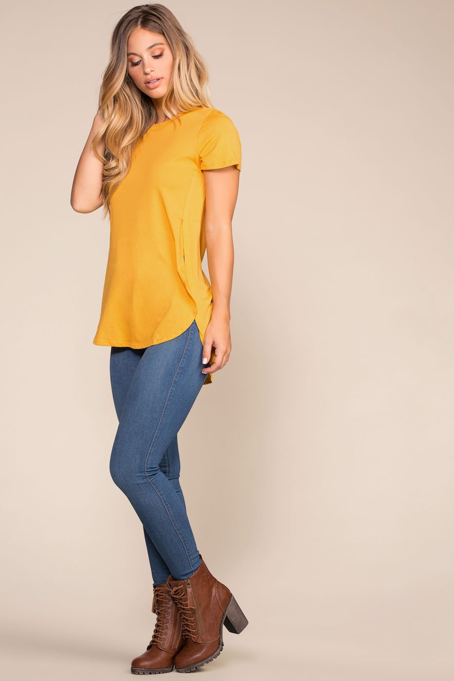 Mustard Hi-Low Top