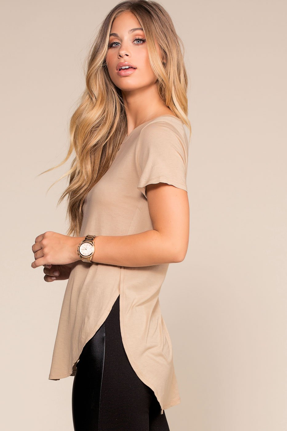 Tops - Easy Goes It Top - Taupe