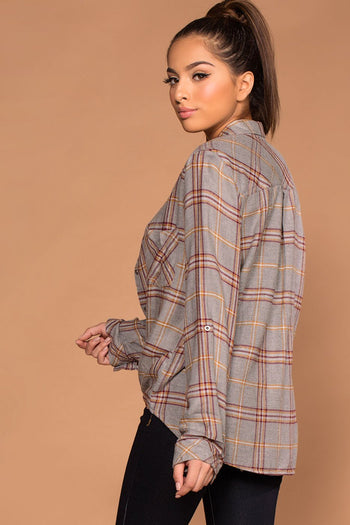Tops - Easy Going Gray Button Up Tie-Front Plaid Top
