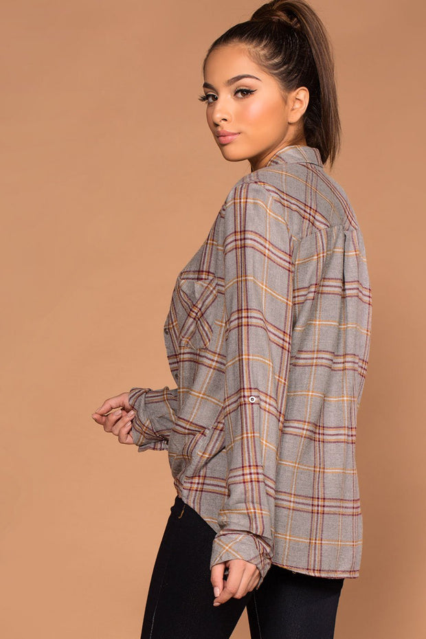 Gray Button Up Tie-Front Plaid Top.