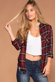 Burgundy Plaid Tie-Front Button-Up Top