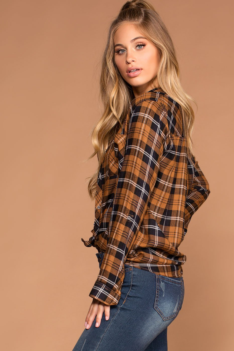 Tops - Ellie Honey Plaid Tie-Front Button-Up Top