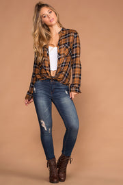 Honey Plaid Tie-Front Button-Up Top