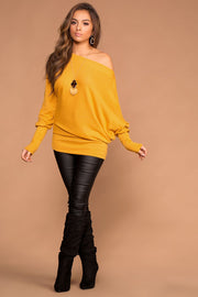Off The Shoulder Mustard Knit Sweater Top