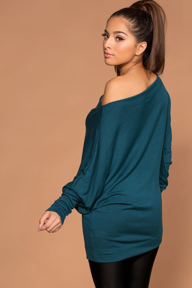 Off The Shoulder Teal Knit Sweater Top