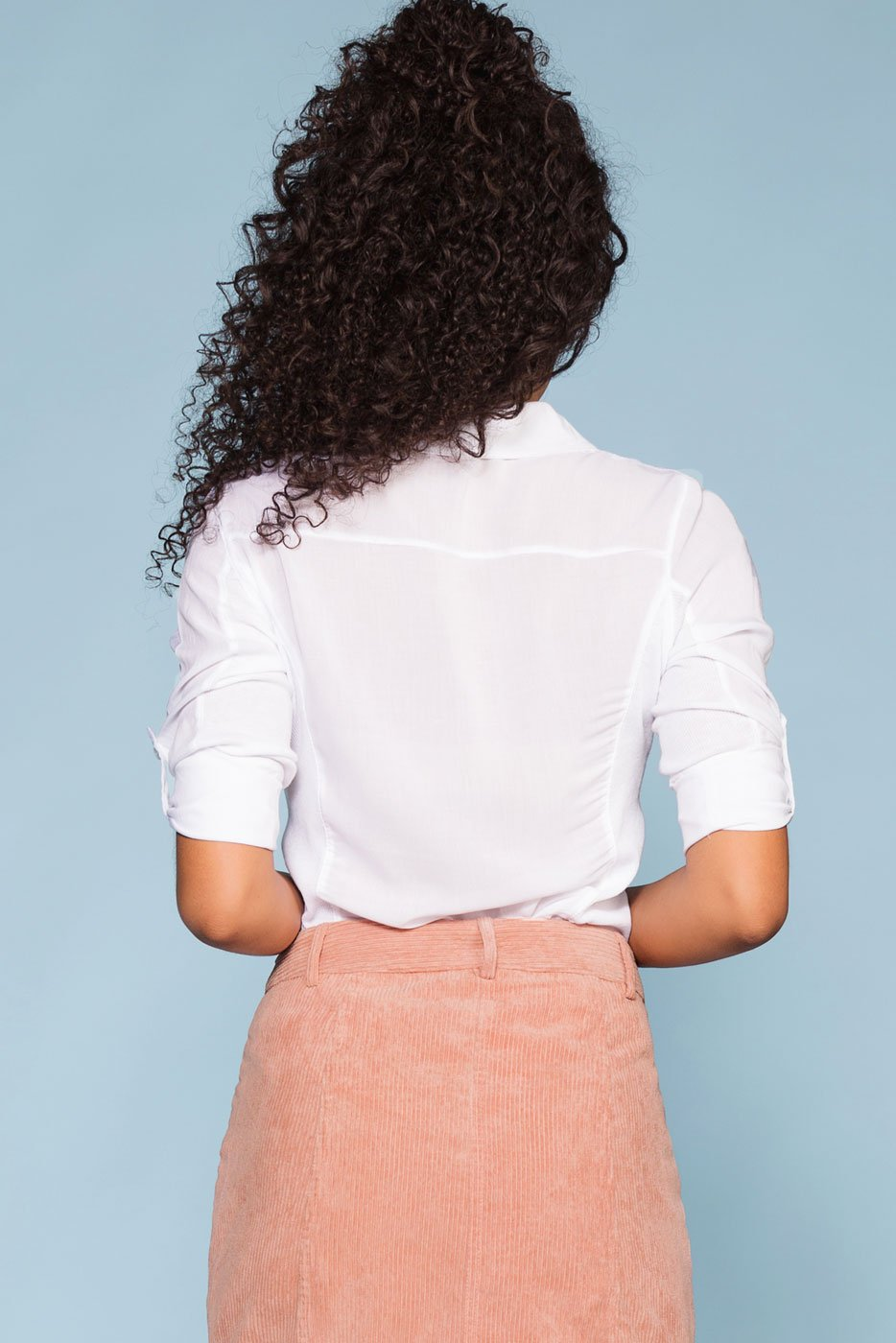 White Top with 3/4 Sleeves and Collar
