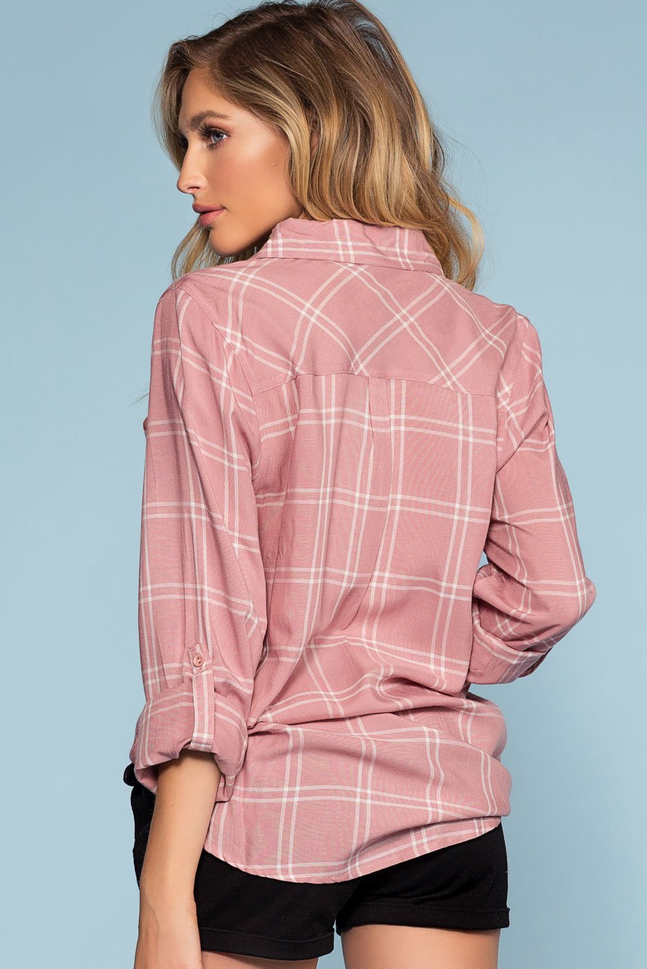 Tops - Farrah Plaid Top - Mauve