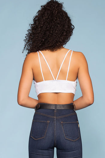 White Crossed Crop Top