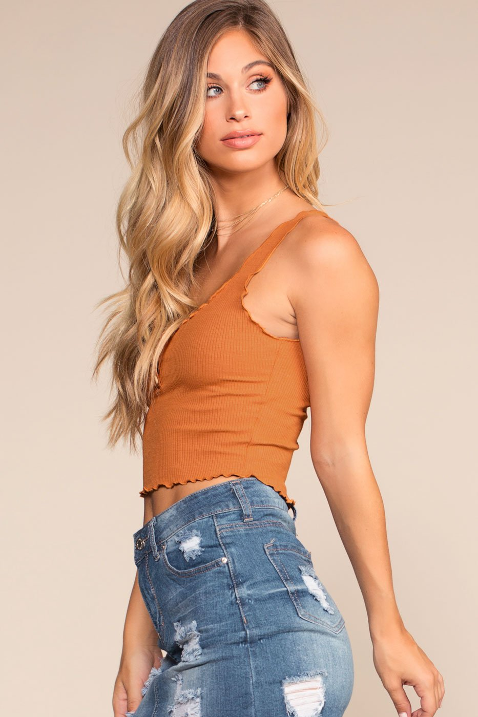 Camel Button Ribbed Top