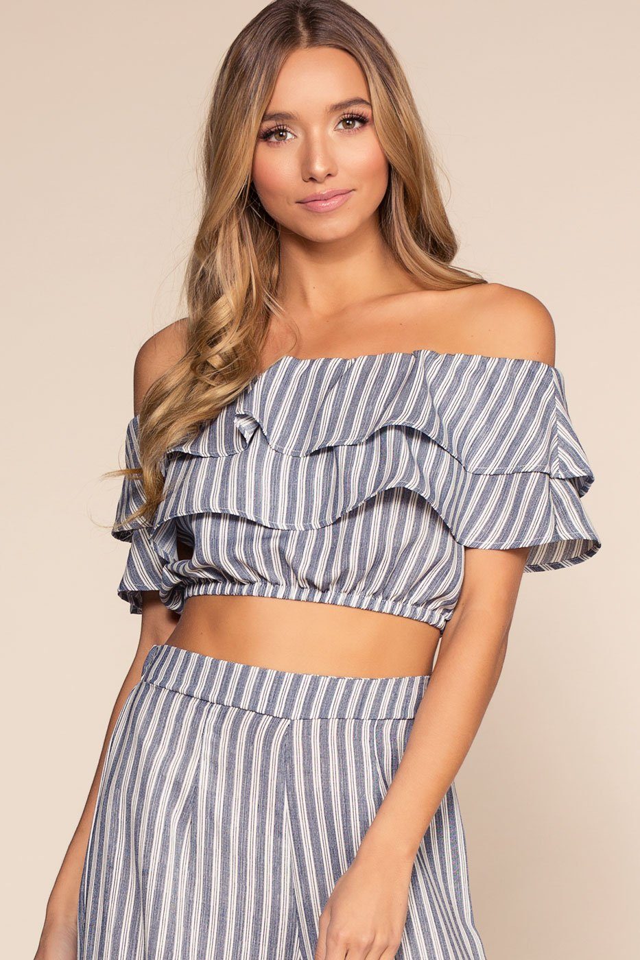 Tops - Free Love Striped Off The Shoulder Crop Top