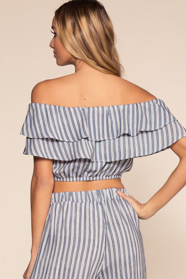 Blue Striped Off The Shoulder Crop Top