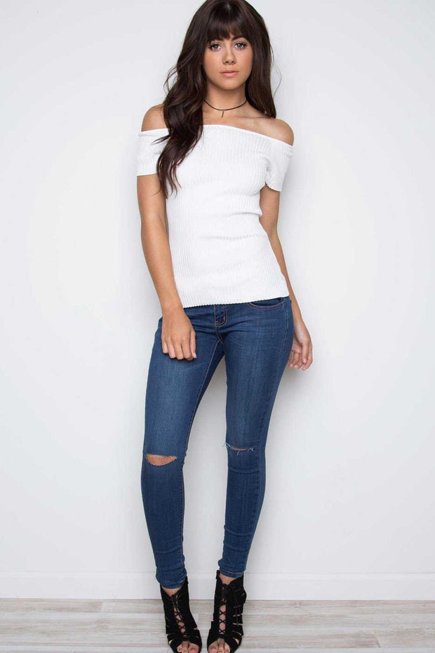 Tops - Gladness Ribbed Knit Top - White