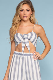Blue Tie-Front Stripe Crop Top
