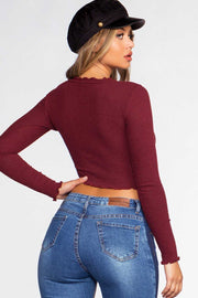 Tops - Heart Stopper Crop Top - Burgundy