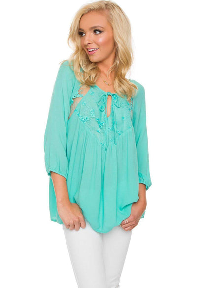 Teal Blue Lace Top with Quarter Length Sleeves