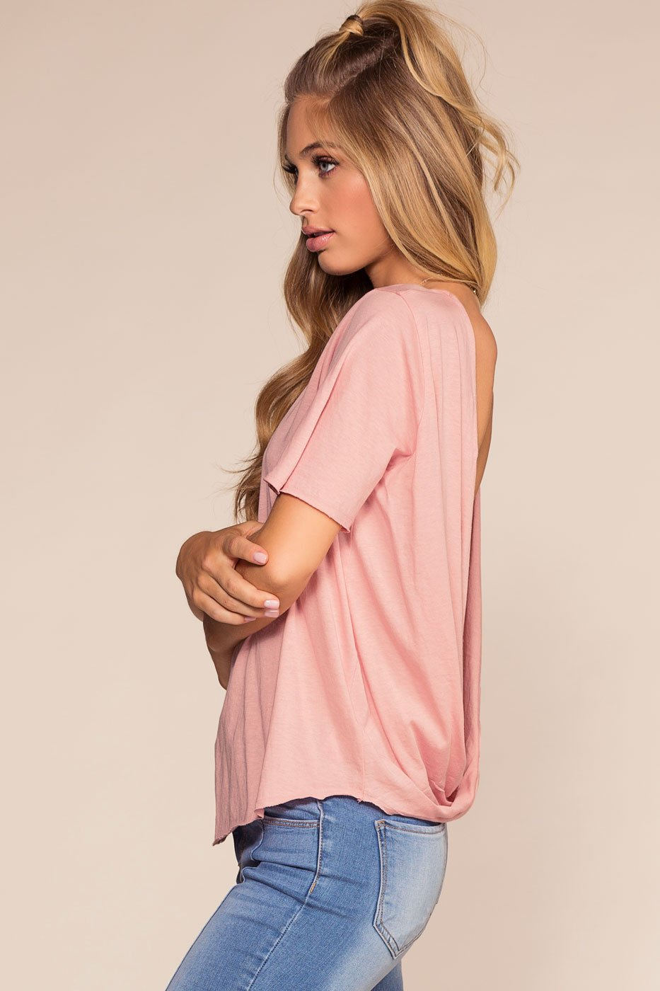 Tops - In The Raw Open Back Tee - Dusty Pink