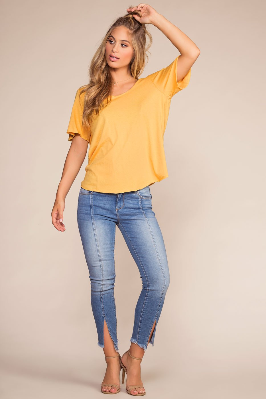 Tops - In The Raw Open Back Tee - Mustard