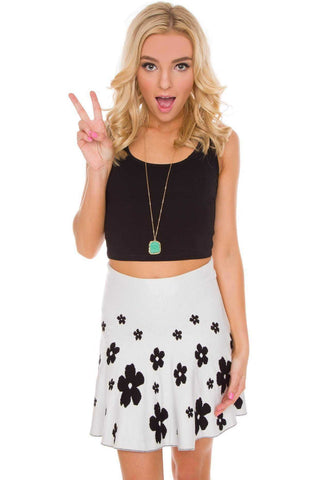 Tropic Sunset Crop Top - Black