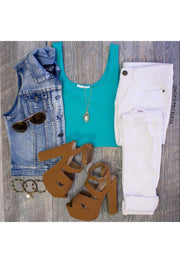 Teal Crop Tank Top