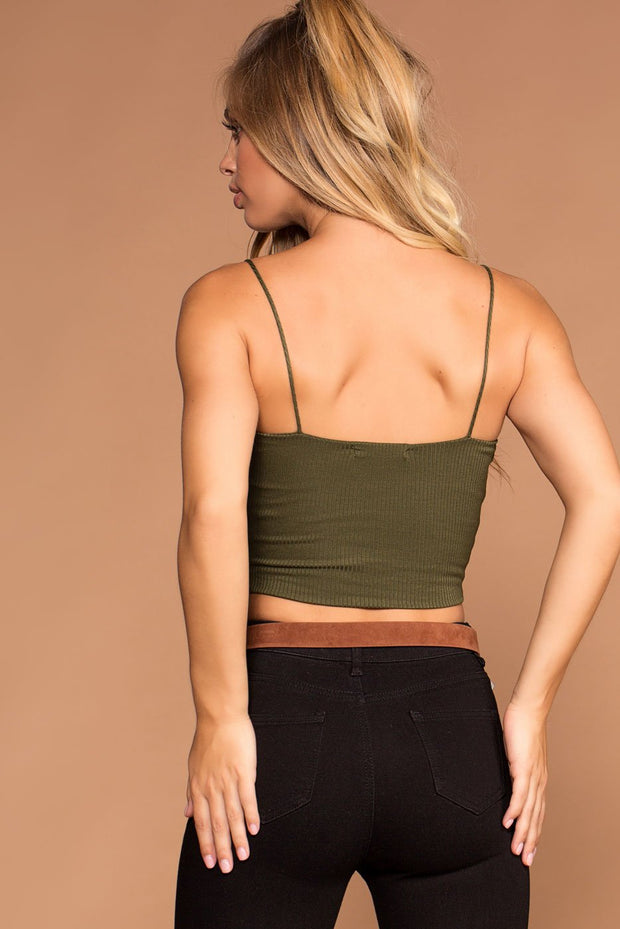 Olive Square Crop Top