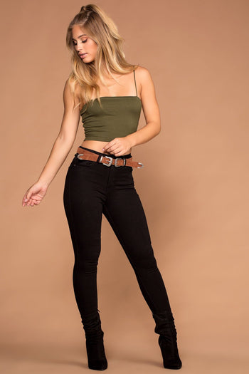 Tops - Jen Square Crop Top - Olive