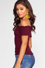Tops - Jett Off The Shoulder Top - Burgundy