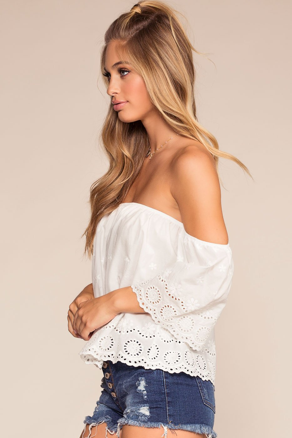 Tops - Just A Moment Off The Shoulder Embroidered Top - White