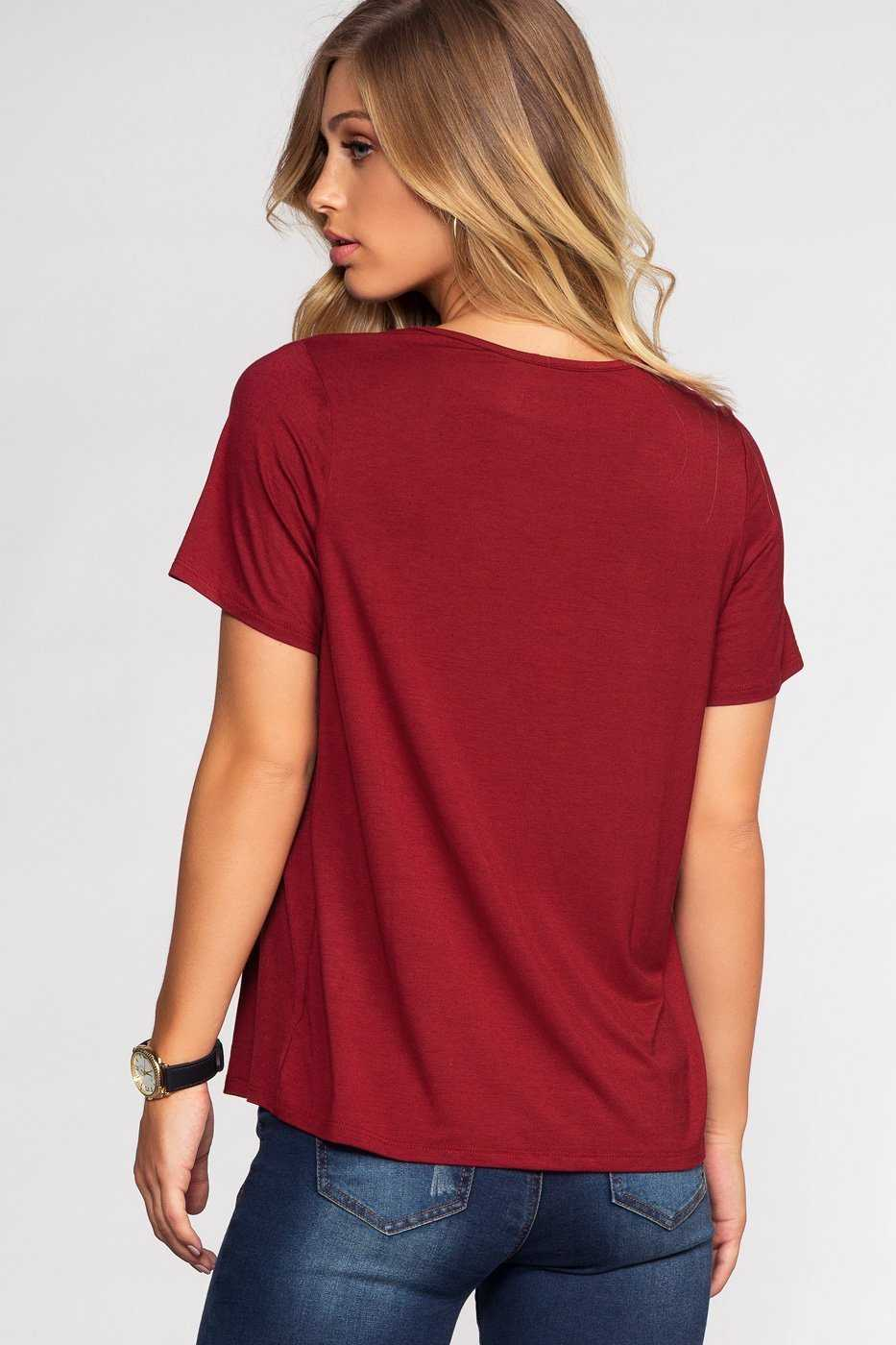 Tops - Kaia Cross Over Top - Burgundy