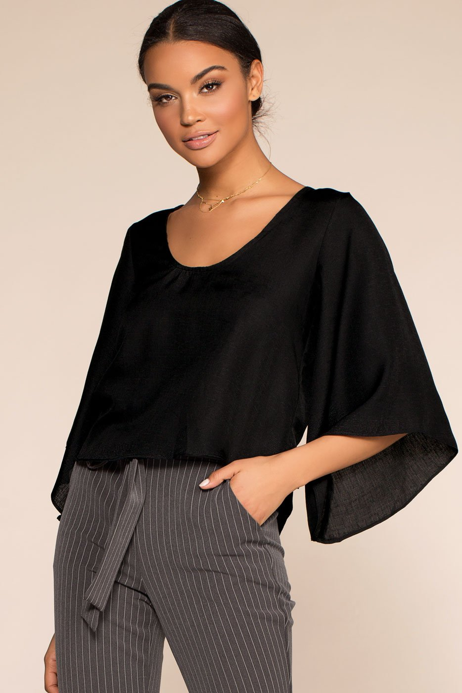 Tops - Kalahari Back Bow Top - Black