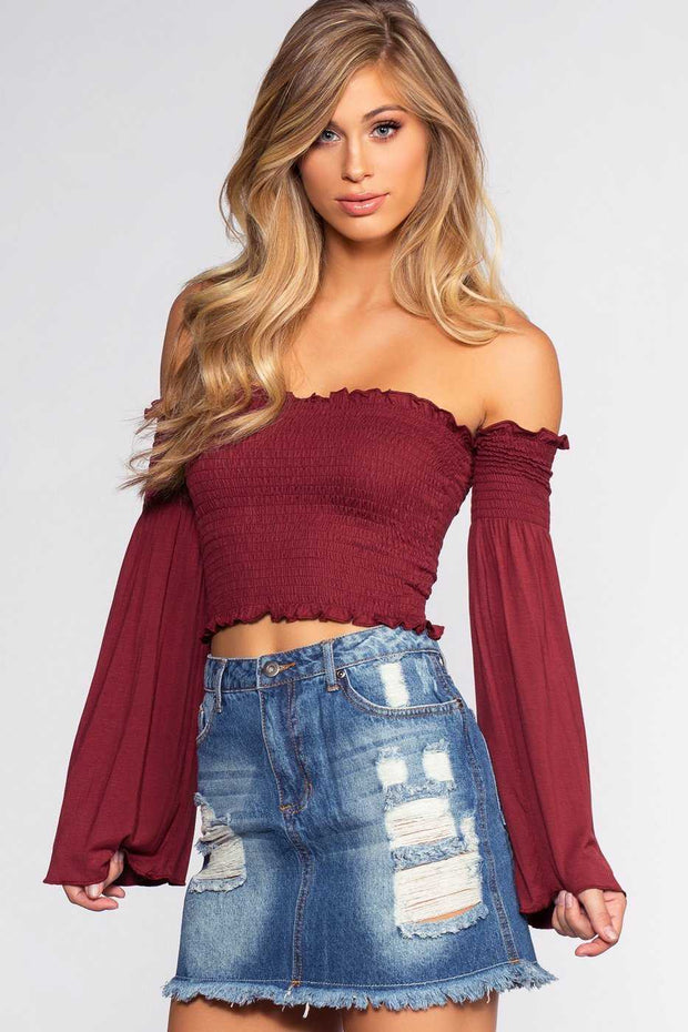 Tops - Kate Crop Top - Burgundy