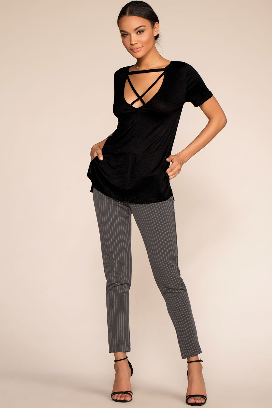 Tops - Keep On Shining Crisscross Oversize Tee - Black