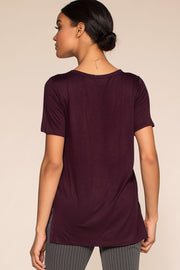 Tops - Keep On Shining Crisscross Oversize Tee - Maroon