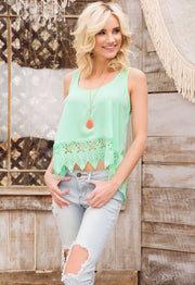 Tops - Lacie Crochet Top - Mint