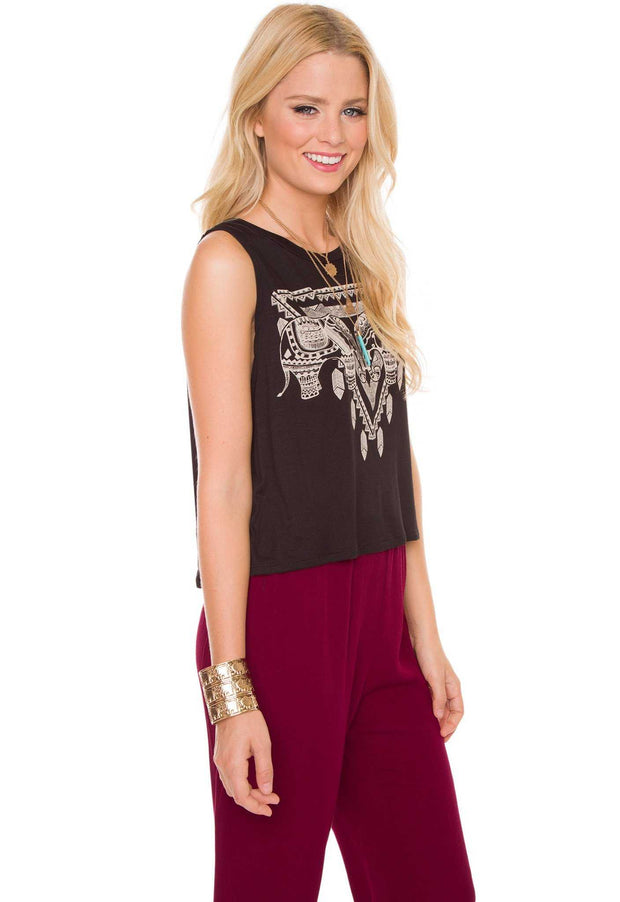 Tops - Lana Elephant Top - Black