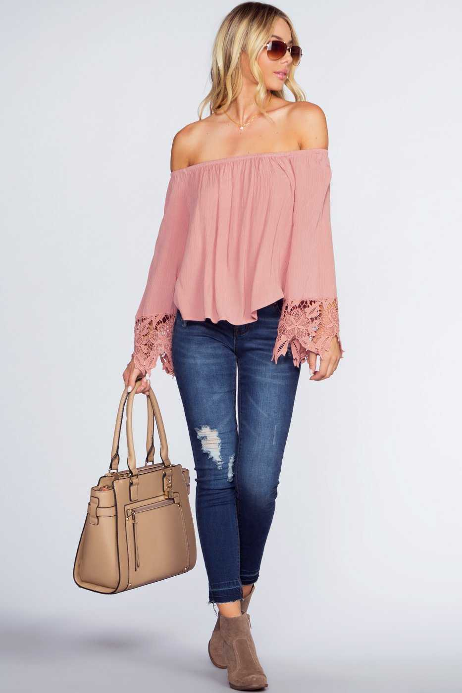 Tops - Lexi Off The Shoulder Top - Mauve