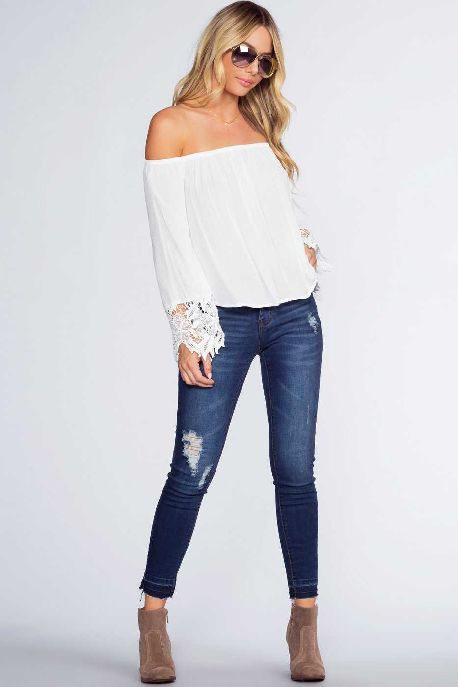 Tops - Lexi Off The Shoulder Top - White