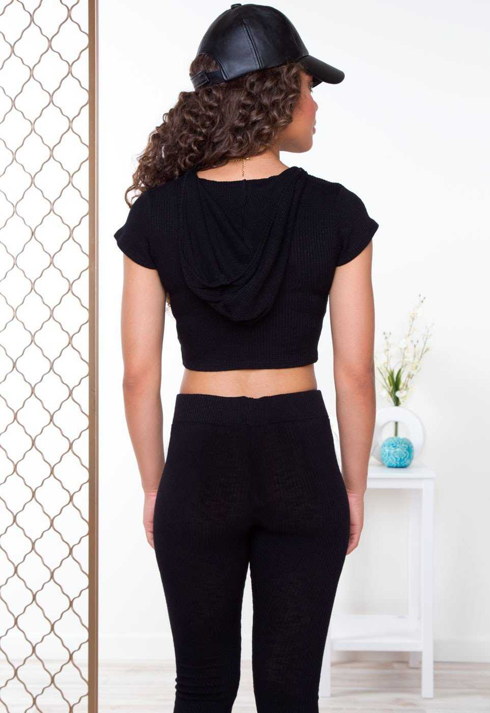 Tops - Like Fire Ribbed Crop Top - Black
