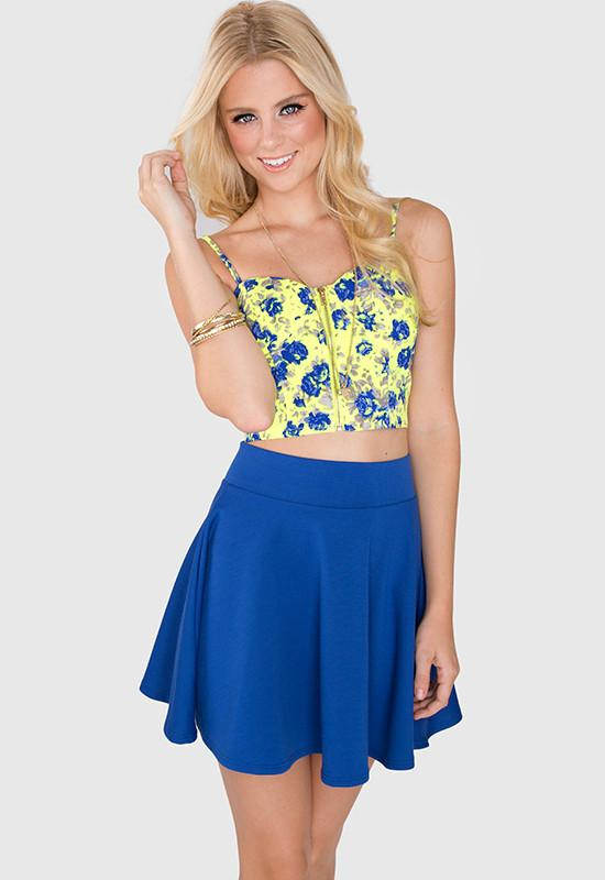 Tops - Lively Floral Bustier - Neon Yellow