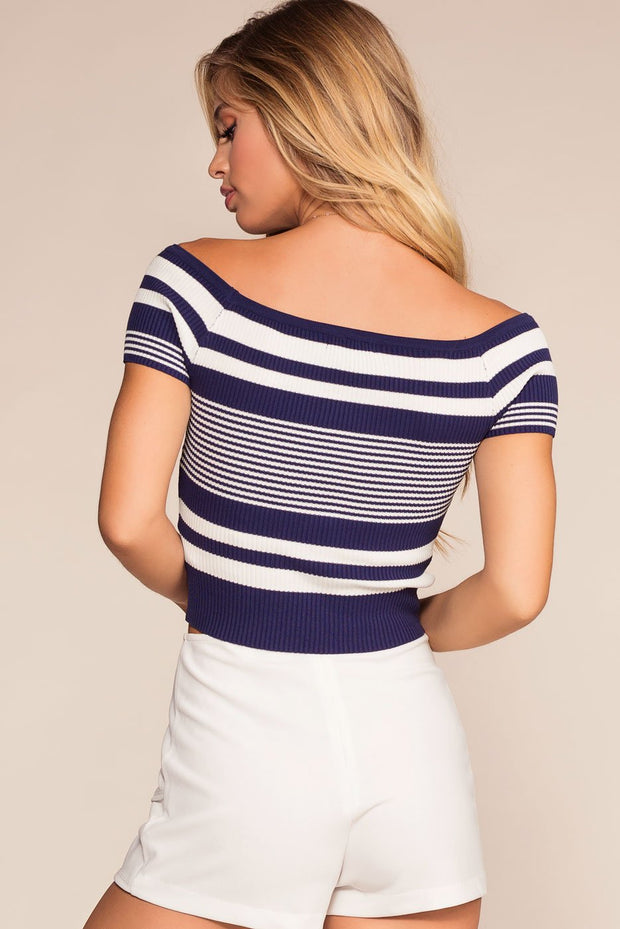 Tops - Lock It Down Stripe Crop Top - Navy