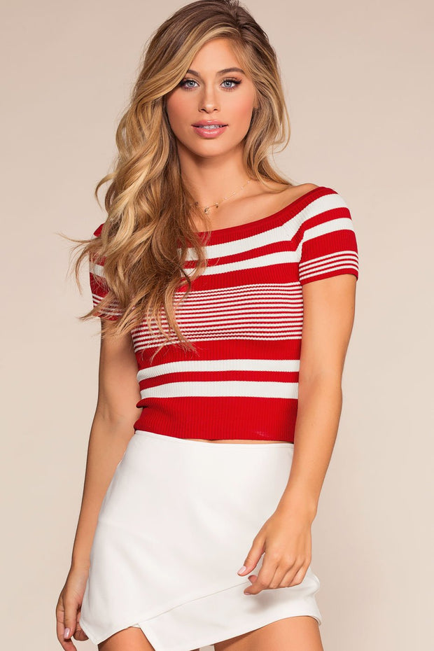Tops - Lock It Down Stripe Crop Top - Red