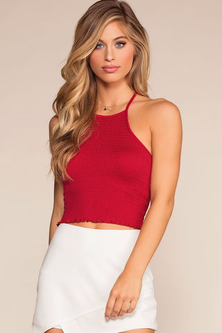 Bring It Back Halter Crop Top - Navy