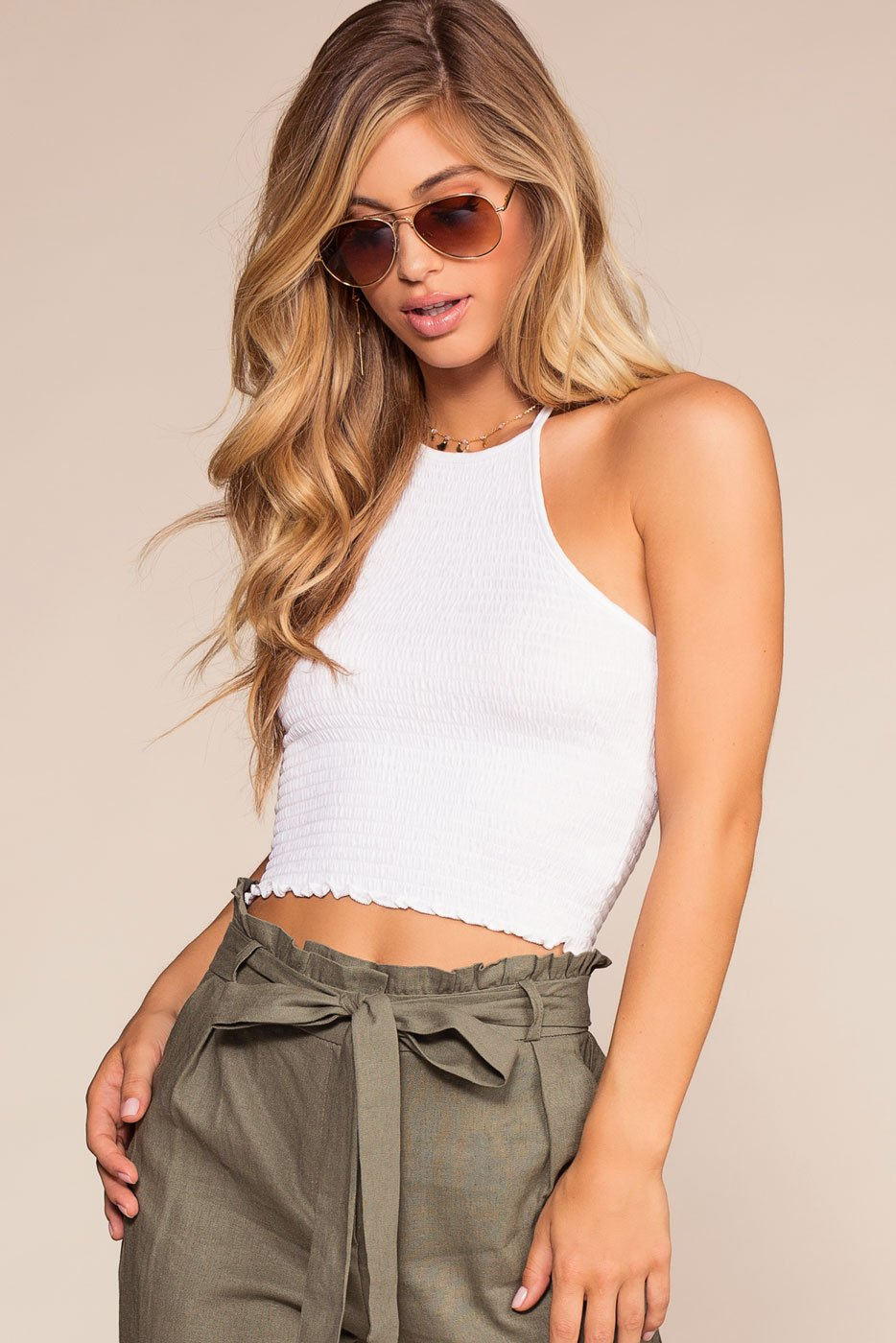 Tops - Lola Bay Halter Smocked Crop Top - White