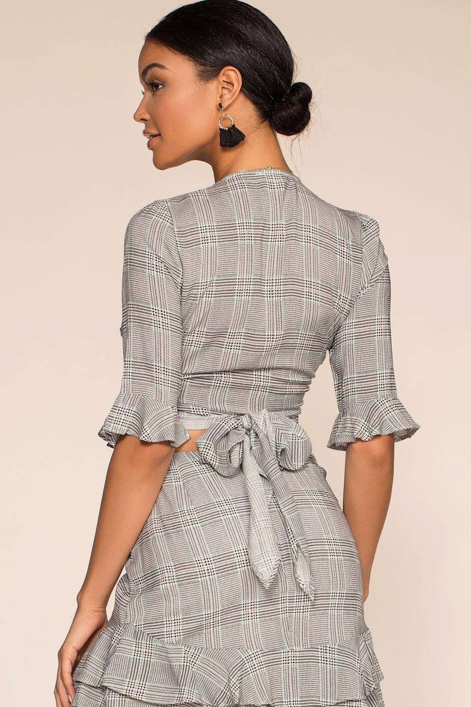 Tops - London Calling Plaid Wrap Crop Top