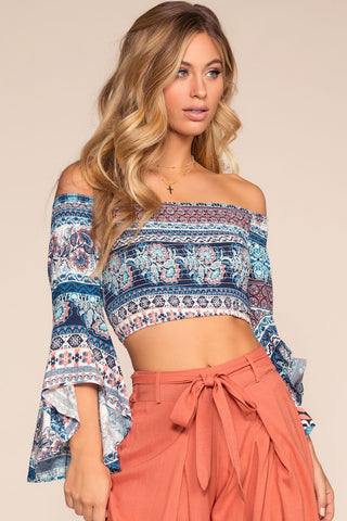 Surf's Up Tie Front Crop Top - White