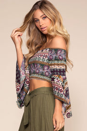 Tops - Love Triangle Floral Off-the-Shoulder Crop Top - Purple