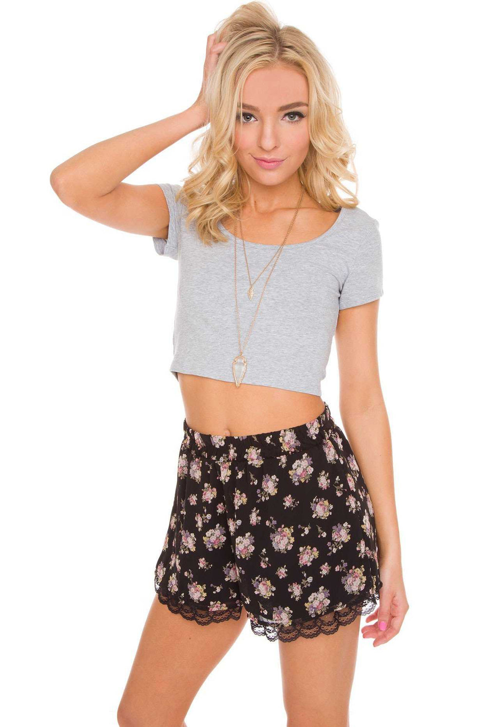Tops - Lucy Basic Crop Top - Gray