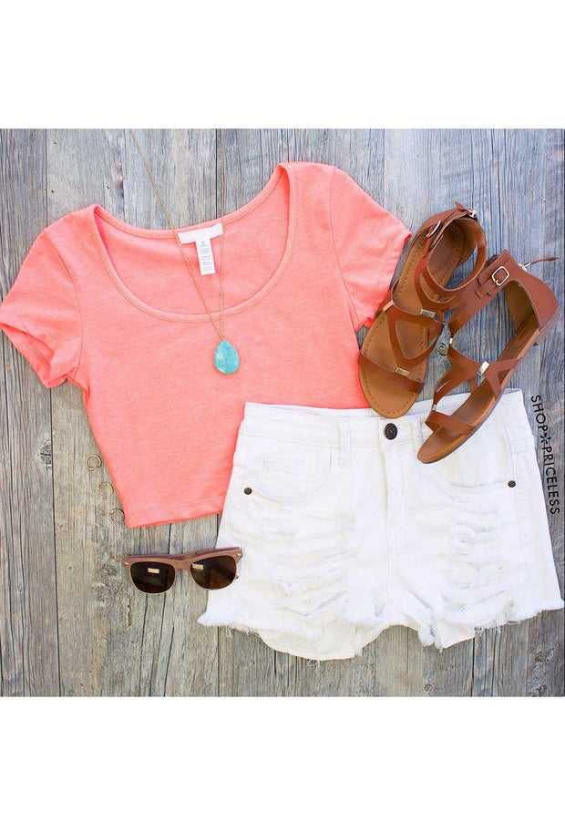 Tops - Lucy Basic Crop Top In Neon Coral